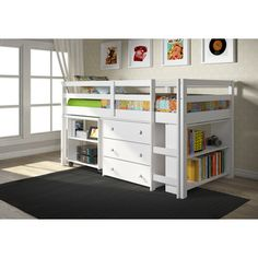 Shop for Donco Kids Low Study Loft Desk Twin Bed with Chest and Bookcase. Get…
