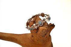 Turquoise // silver stretch bracelet by Jewelrybydawn1 on Etsy, $14.00