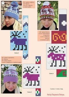 Вязанные на спицах шапочки с жаккардовыми узорами. Страница 140.