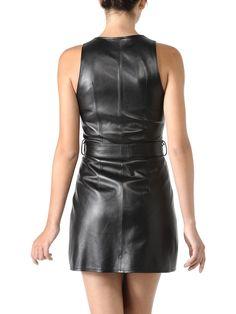 Belted black leather dress