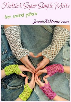 Nettie's Super Simple Mitts free #crochet pattern by @jessie_athome