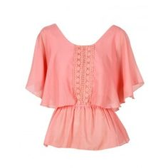 Coral Pink Lace Detail Cape Blouse £ 14.95 #chiarafashion
