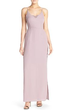 Paper Crown by Lauren Conrad 'Michelle' Lace Trim V-Neck Gown