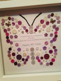 Button Art Personalised Butterfly 30th 40th 50th 60th