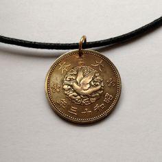 1938 Japan 1 Sen coin pendant charm necklace Nippon Japanese Mythological crow bird dove Yatagarasu sacred mirror Yata no Kagami No.000477 by acnyCOINJEWELRY on Etsy