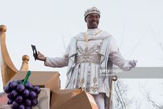 Actor and native New Orleanian Anthony Mackie reigns as King of Bacchus XLVIII in the 2016 Krewe Of Bacchus parade on February 7, 2016 in New Orleans, Louisiana. Mackie is the first African-American monarch for the krewe.