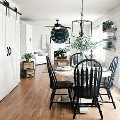 54 Awesome Farmhouse Dining Room Design Ideas, The kitchen comes with a regal design style, which is definitive of the rest of the home also. It also includes a professional-level refrigerator and . Farmhouse Dining Room Table, Dining Room Furniture, Dining Rooms, Black Dining Room Chairs, Furniture Decor, Dining Table, Kitchen Chairs, Diy Table, Rustic Kitchen