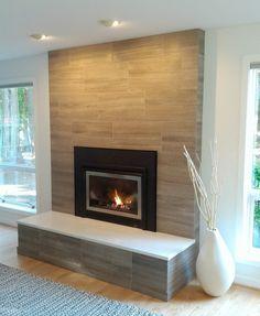 Ravishing Limestone Tile home remodeling Seattle Modern brick pattern Fireplace gas fireplace insert gray limestone tiles horizontal raised hearth stainless steel frame white caesarstone