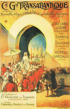 VINTAGE ART DECO TRAVEL ADVERT POSTER MOROCCO 1910 travel africa arabic