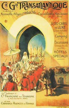VINTAGE ART DECO TRAVEL ADVERT POSTER MOROCCO 1910 travel africa arabic