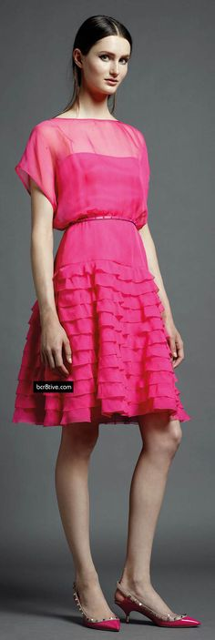 Valentino Pre Spring 2013, hot pink ruffled dress worn with studded pumps