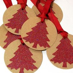 Handmade Christmas Tags with Ribbon Red Glitter by AcarrdianCards