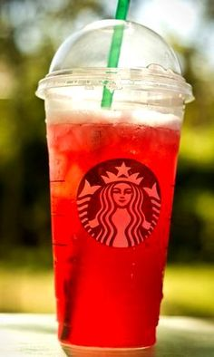 Fruit Punch Refresher! Start with a Valencia Orange Refresher including orange slices (with a tad more water than orange), Add Raspberry Syrup (1 pump for a tall, 2 pumps for a grande, 3 pumps for a venti) Add Peach Syrup (1 pump for a tall, 1.5 for a grande, 2 for a venti), Shake and enjoy.