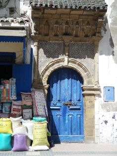 Blue painted doors and windows are an iconic feature of Essaouira on Morocco's Atlantic Coast. Recreate this look at home with help from Maroque. http://www.maroque.co.uk/