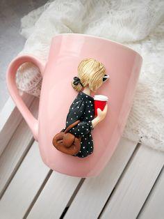 Handmade pink mug for tea and coffee, beautiful gift for tea coffee lover . Mom mugs . Pink mug for birthday girl . Ceramic pink mug . Christmas gift for tea and mug Polymer Clay Charms, Polymer Clay Art, Diy Clay, Clay Crafts, Cute Mug, Clay Mugs, Mother's Day Mugs, Mom Mug, Christmas Mugs