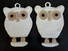 Potholder Owl Pair Figural Crochet Cotton Hand Crafted Gorgeous Kitchen Decor