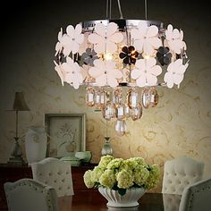 Rustic Romantic Crystal 5 Light Pendant Decorated with Glass Flower – USD $ 199.99