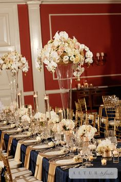 Bridal Bliss Wedding: Cream, White, and Blush Florals, with Navy and gold details at the head table