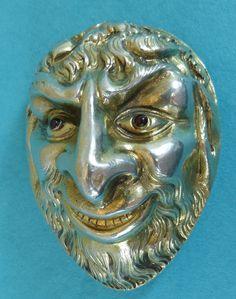 Exceptional Georgian Sterling Silver Agate Snuff Box Bacchus Head Rubies Ca 1820 #English