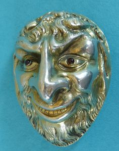 Exceptional Georgian Sterling Silver Agate Snuff Box Bacchus Head Rubies Ca 1820 #English