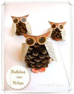 DIY: Pinecone Owls  googley eyes and some pheasant feathers on head.  like book pages for wings.
