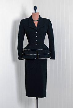 Lilli Ann, Gabardine Suit with Peplum. 1940s.  black