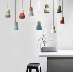 Toro Concrete Lamp With Wood. Minimalist Pendant Light – Tudo And Co