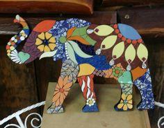 Mosaic  elephant  by Faye Robbins