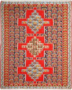 "Multi-colored Persian Kilim 3' 11"" x 4' 11"" (ft) http://www.alrug.com/10112"