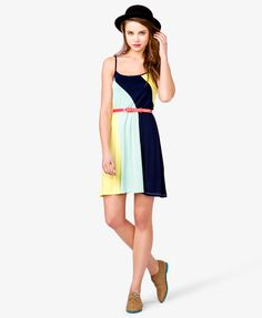 Colorblocked Spaghetti Strap Dress   For Casual Days