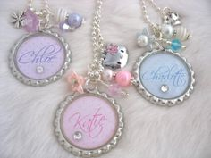 Pastel Polka Dot Personalized Bottle Cap Necklace, Keychain, HELLO KITTY Princess Crown, Girl names, kids party favors. $16.50, via Etsy.