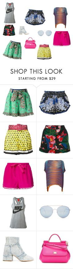 """Short Style..**"" by yagna ❤ liked on Polyvore featuring Manoush, Poupette St Barth, Mary Katrantzou, Valentino, Figue, Issey Miyake, NIKE, Quay, MM6 Maison Margiela and Dolce&Gabbana"