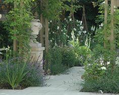 Pinned to Garden Design by Darin Bradbury. Back Gardens, Outdoor Gardens, Holland Park, Garden Inspiration, Garden Ideas, Classic Garden, White Gardens, Cool Landscapes, Landscaping Plants