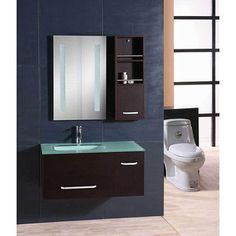@Overstock.com - Design Element Milan Modern Wall Mount Single Vanity Set - Enhance your bathroom decor with a single vanity setBathroom vanity features tempered glass counter topBathroom furniture features integrated drop in sink  http://www.overstock.com/Home-Garden/Design-Element-Milan-Modern-Wall-Mount-Single-Vanity-Set/4469879/product.html?CID=214117 $858.99