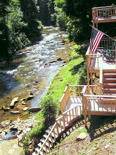 Awesome Creek Cabin Rental $135/Night 1 BR Cabin in Blue ridge Fightingtown Creek Frontage  Outdoor Fire Pit on the water Gas Grill Rocking Chairs Hot Tub Gas Log Fireplace Screened Porch Private Decks overlooking rushing creek Satellite Television with DVD  WiFi