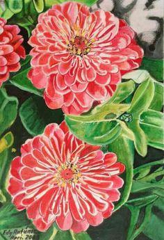 I colori della primavera - matite su carta 24X26 cm. - Edy Antúnez