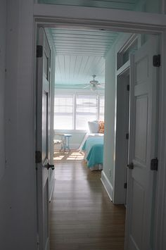 a large beach house on Tybee Island. It takes more of everything to design a large beach house. Home Bedroom, Bedroom Ideas, Bedrooms, Master Bedroom, Pulte Homes, Blue Ceilings, Cottage Style Homes, Cozy Corner, Paint Colors For Home