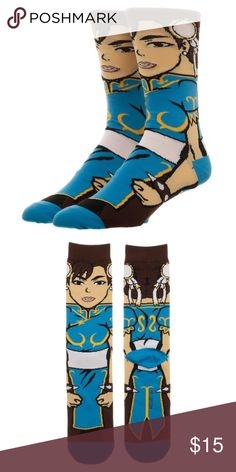Chun Li Street Fighter Character Men's Socks This is for 1 pair of awesome socks from Street Fighter!  Character:  Chun Li - 360 / Full Body  Brand: Bioworld  Theme: Street Fighter - Officially Licensed Style: Men's Crew Socks Sock Size: 10-13 Shoe Size: 8-12  Material: 98% Polyester, 2% Spandex Recommended Age Range: Ages 14 and Up  Makes a great gift for any Street Fighter Fan!   CONDITION - New  Check my Posh for more fun socks like these! Bioworld Underwear & Socks Casual Socks