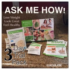 Ask about my 3 day weight loss trial today! Yes yes! I absolutely love these Herbalife 3 Day Trials. Why? Because it shows people the VALUE of being on an Herbalife Nutrition program and giving your body what it needs! Are you interested? Ask me today!!! Let's start your journey today. Super Affordable!!!