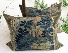 Old World Pillow, 18th Century Belgium Tapestry with Antique Trim on Taupe Sage Mohair