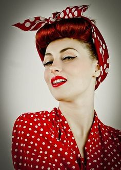 The PinUp Gal rockabilly hairstyles. Oh how I love this! I don't know if I could pull of the red, but I sure would love to try!