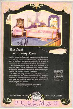 Ad for Sleeper Sofa 1920s Advertisements, 1920s Ads, Advertising, Nice Furniture, Furniture Ads, Vintage Furniture, Vintage Homes, Vintage Room, Vintage Decor