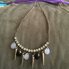 Simple statement necklace Black and opal statement necklace. Jewelry Necklaces