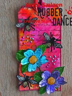 * Rubber Dance Blog *: Rubber Dance Stamps Bright mixed media tag