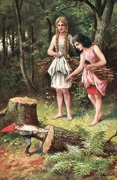 Diese Postkartenserie zum Märchen Schneeweißchen und Rosenrot, illustriert von Oskar Herrfurth, erschien um 1930 bei Uvachrom.