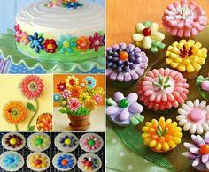 Jelly Bean Cupcake Flowers