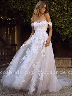 A-Line Sweep Train Off-the-Shoulder Wedding Dress with Appli.- A-Line Sweep Train Off-the-Shoulder Wedding Dress with Appliques A-Line Off-the-Shoulder Wedding Dress, Wedding Dress with Appliques, Fancy Wedding Bride Dress - Cute Wedding Dress, Best Wedding Dresses, Designer Wedding Dresses, Bridal Dresses, Wedding Bride, Dresses Dresses, Wedding Ideas, Lace Wedding, Wedding Dresses With Lace