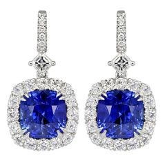 10.86 Carat Cushion Cut Sapphire and Diamond Drop Earrings | From a unique collection of vintage dangle earrings at 1stdibs.