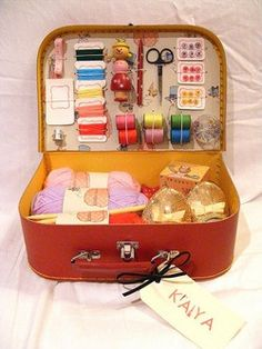 My new (but old) sewing basket - I am off to find a Vintage blue Samsonite makeup case