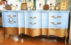 Faded Furnishings: French Gold Dipped Dresser - This is a beautiful piece my cousin at Faded Furnishings refinished! I love the Annis Sloan Louis Blue!